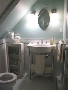 Clever attic bathroom complete with shower built in for 3 piece bathroom ideas