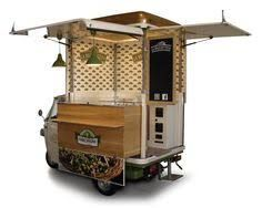 Vending bruschetta on a vintage Piaggio Van? Buy an ApeCar entirely customized for your business. Food truck manufacturer set in Italy > Food Cart Design, Food Truck Design, Cafe Design, Coffee Carts, Coffee Truck, Food Trucks, Food Truck Manufacturers, Foodtrucks Ideas, Bike Food