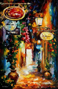 Cityscape painting - Vibrations Of The Time — city oil painting, Cityscape wall art, city wall decor, Cityscape canvas, Leonid Afremov