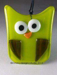 OOAK owl suncatcher ornament chartruse green by mmmDESIGNstudio, $15.00