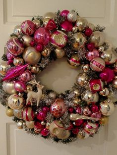 $180 onetsy Vintage Ornament Wreath Decoration , Christmas Heirloom Pink Girl Shiney Bright Glass, Chic Handmade Holiday Indent Tinsel Ornaments OOAK