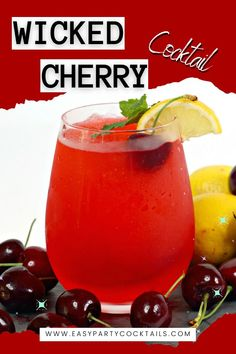 This easy party cocktail feels truly wicked! 4 different liquors are in this Wicked Cherry Cocktail! Spiced Rum, Easy Cocktails, Ginger Ale, Liquor, Wicked, Cherry, Spices, Vegetables, Party