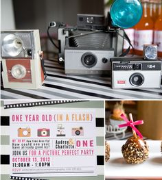 One year old in a flash party with photo/camera theme. Photo of baby on cupcake toppers, photo booth fun for guests.