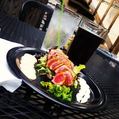 Ahi Tuna & a Brown Ale on one of my favorite patios in the #oregondistrict!