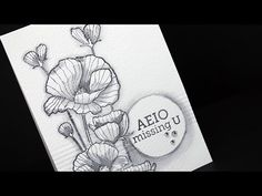 Watercolor Flowers #3: Black and White Mashup - YouTube (Hero Arts stamp set) with Sandy Allnock