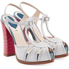 Fendi Color Block Leather Platform Sandals ($800) ❤ liked on Polyvore featuring shoes, sandals, heels, multicolor, peep toe sandals, heeled sandals, leather sandals, platform heel sandals and strap sandals