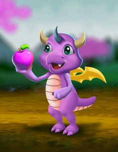 Cute pink dragon want to eat an apple!!enjoy with her ☺ https://play.google.com/store/apps/details?id=air.com.silenceworld.wonderdragons
