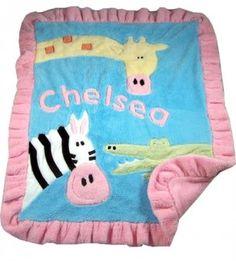 Jungle animals applique blanket