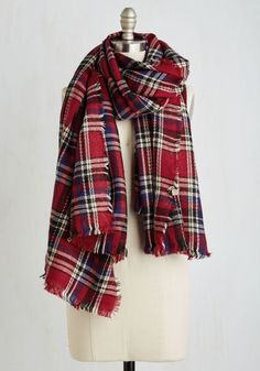 Chillin' Haute Scarf in Red. Your style heats up as the weather cools down thanks to this plaid scarf! #red #modcloth