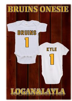 BruinsOnesie (Choose Your Name) Logan's Locker Layla's Runway specializes in creating unique personalized apparel and accessories with a great look for your little boys or girls of all ages. Our personalized apparel products make great personalized gift ideas for friends and family and are perfect for new born babies, toddlers, teens birthdays, family reunions, fundraisers, special occasions. Whether its one item or one hundred, we look forward to gearing you up with our unique apparel.  …