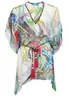 Atlas Silk Mousseline Kaftan by Matthew Williamson. Slip this printed silk kaftan over the matching bikini and your holiday truly begins. The hand-painted print begs to be seen up close - songbirds flit amongst hibiscus flowers over a background of the world map.