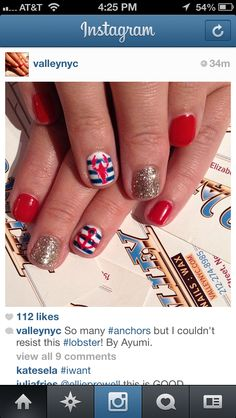 Monday: Nautical Nails Loving the lobster nautical nail art.Loving the lobster nautical nail art. Anchor Nail Art, Nautical Nail Art, Nautical Nail Designs, Aztec Nails, Chevron Nails, Vacation Nails, Jamberry Nails, Fabulous Nails, Accent Nails