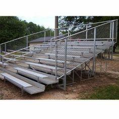 8 & 10-Row Aluminum Bleachers w Central Aisle & Railing (10 Row/140 Seat - 21 ft.)