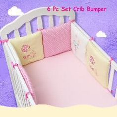 [ 51% OFF ] Infant Crib Bumper Bed Protector Baby Kids Cotton Cot Nursery Bedding 6 Pc Cotton Pink Cat Bumper For Girl