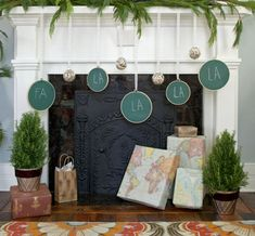 holiday, decor crafts, idea, chalkboard paint, map, garlands, embroidery hoops, mantl, christmas projects