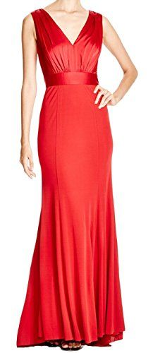 Vera Wang Womens VNeck Drape Back Long Gown Red 12 ** Continue to the product at the image link.