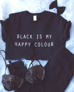 Enjoythespirit Girl Letter Print Black Is My Happy Colour Tshirt Cotton Casual Tshirt for Lady Black Fashion Crewneck Looks Style, Style Me, Black Style, Color Black, Outfit Trends, Inspiration Mode, All Black Outfit, Black Tshirt Dress Outfit, All Black Everything