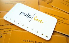 Yellow business cards (punch cards) - Design by Doodle Dog Creative www.doodledogadvertising.com