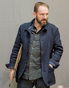 Ralph Fiennes wearing a bespoke Timothy Everest kendo cloth jacket, from £1,800