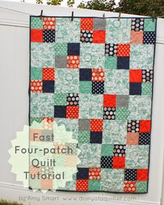 Fast Four-Patch Quilt Tutorial by Amy Smart .a quick baby quilt. It works really well to show off a main 'focus' print contrasting with a variety of prints in scrappy four-patch blocks. The quilt shown here finishes at x Quilting For Beginners, Quilting Tutorials, Quilting Projects, Quilting Designs, Beginner Quilting, Quilting Patterns, Quilting Ideas, Sewing Projects, Owl Patterns