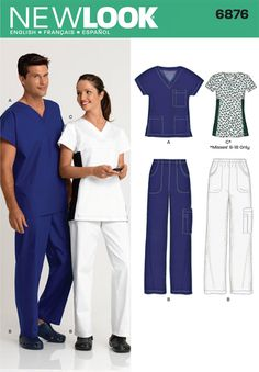 6876 New Look Unisex Scrub Tops and Pants Sewing Pattern Sizes Misses Top Sizes Instructions in English, French, Spanish New Look Patterns, Simplicity Patterns, Sewing Patterns Free, Clothing Patterns, Sewing Men, Sewing Clothes, Diy Clothes, Scrubs Pattern, Top Pattern