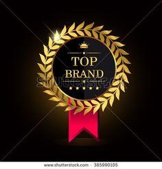 Top Brands golden label. Top brand golden badge, vector illustration. - stock vector