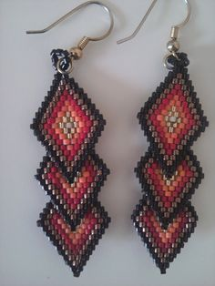 Free Brick Stitch Earring Patterns | Jo Spick Beadwork: Beadweaving Gallery
