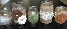 Set of 5 Fall Mason Jars for a , Baby Shower