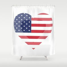 Items similar to Heart USA Shower Curtain - 71 in x 74 in Gift Cute Kids Children Apartment Bath Bathroom Nursery Decor Accent Original Art Flag Patriot on Etsy