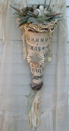 """RESERVED FOR KATHY Christmas ornament cone decor floral """"Grand Christmas…"""