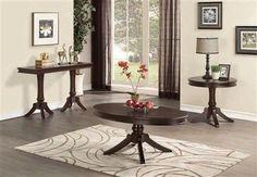 Marston Classic Dark Cherry Wood Oval Coffee Table Set