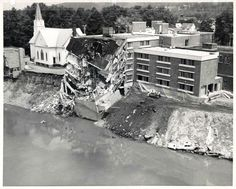 Church and Hospital Clinging To Life  Wellsville NY 1972  ~ HOSPITAL OF MY BIRTH, WHICH FELL INTO THE GENESEE RIVER AFTER SERIOUS RAIN, FLOOD ~