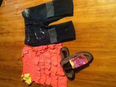 Pink Ruffle Shirt Size 10 Habd Warmer Capre Shorts Yellow Zebra Stripe Bow Sanok Black Slippers Small Pubk Earrings 4 Silver Braclets  Total Cost :$120.34