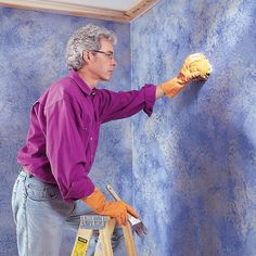 Sponge painting is a quick, simple way to make dull interior walls dramatic. With just a sponge, a can of glaze and a few paint colors you can transform Sponge Painting Walls, Painting Textured Walls, Diy Wall Painting, Faux Painting, Acrylic Painting Canvas, House Painting, Wall Paintings, Painting Furniture, Wood Wall Design