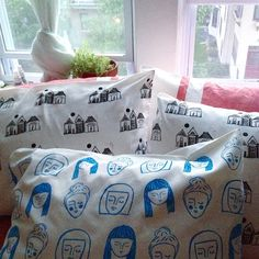 "45 Likes, 3 Comments - @bettypjones on Instagram: ""Printed rows of houses and dreaming ladies onto pillowcases because... why not? (Bad feng shui to…"""
