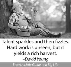 Talent sparkles and then fizzles. Hard work is unseen, but it yields a rich harvest. -David Young #ALittleGuide