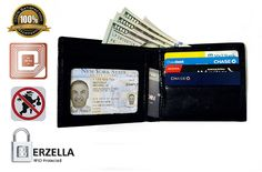 Rfid Blocking Stylish Genuine Leather Wallet for Men - Excellent As Travel Bifold - Credit Card Protector - Rfid Blocking Wallet By Berzella™ >>> Check this awesome product by going to the link at the image. (This is an Amazon Affiliate link and I receive a commission for the sales)