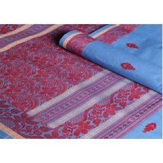 Sky #blue body in soft cotton and a #red floral thread border for #contrast!