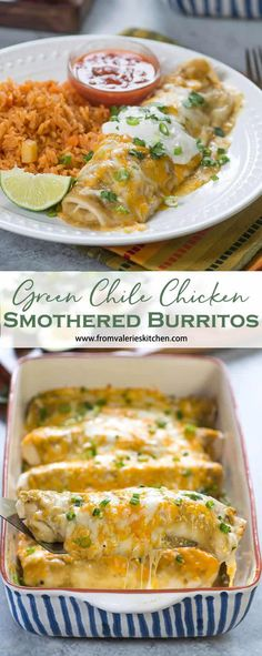 These Green Chile Chicken Smothered Burritos are a seriously delicious way to satisfy your craving for Mexican food. Simple ingredients, easy prep, incredible result! #smotheredburritos #burritos #mexicanfood #mexicanrecipes #cincodemayorecipes #chickenrecipes #easyrecipes