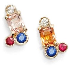 MOCIUN Peach Sapphire Cluster Earrings (9.700 RON) ❤ liked on Polyvore featuring jewelry, earrings, peach sapphire, earrings jewelry, mociun, peach earrings, peach jewelry and sapphire jewelry