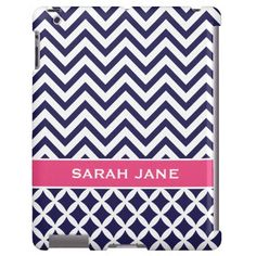 Navy Blue & Pink Chevron Custom Monogram iPad Case