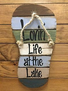 "FLIP FLOP Sign Reclaimed Wall Pallet Lovin Life at the lake / in Flip Flops Beach Wood Rustic Sandal Plaque 13"" X 7"" Vertical Nautical Wooden Sign with Twine *Blue Green Brown White"