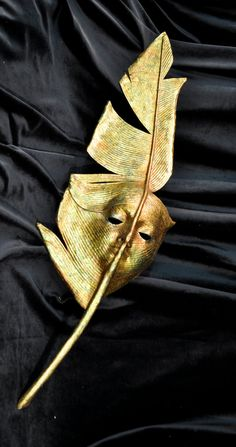 Gold Feather Handheld Mask - Handmade Venetian Mask