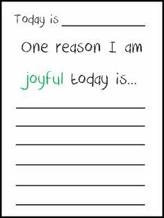 gratitude/joyful journaling printable for kids