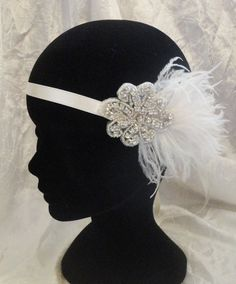 headband ou collier inspiration rétro vintage Charleston plumes Great Gatsby modéle Mariana
