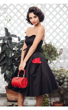 Pinup Couture- Corset Skirt in Black Sateen with Red Wing Pockets   Pinup Girl Clothing