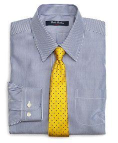 Non-Iron Supima® Cotton Broadcloth Candy Stripe Dress Shirt Blue