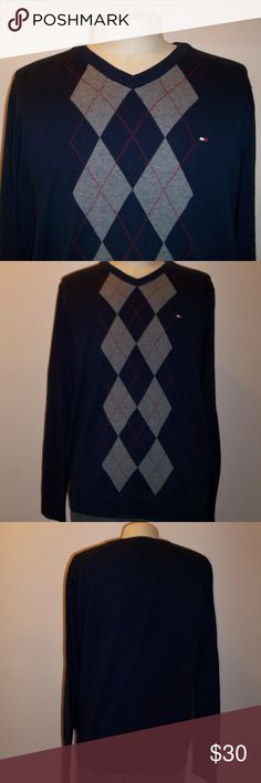 Tommy Hilfiger Men's V-Neck Sweater Navy 100% cotton v-neck pullover with gray and red argyle motif. Men's size Large. (Mannequin is size medium.)  EUC. Tommy Hilfiger Sweaters V-Neck