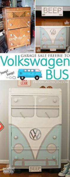 An outdated cabinet gets transformed into a sweet Volkswagen dresser!