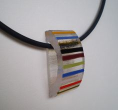 fused glass pendant with stringer stripes